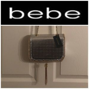 "bebe ""Bella"" Metallic Silver Crossbody"